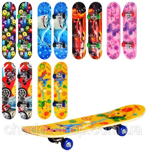 Скейт MS 0323-2 (12шт) 61-15см,алюм.подвеска,колесаПВХ,9слоев,подш608Z,6видов,разобр,