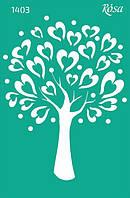 """Трафарет """"Дерево Любви"""", серия влюбленные сердца, 13*20см"""