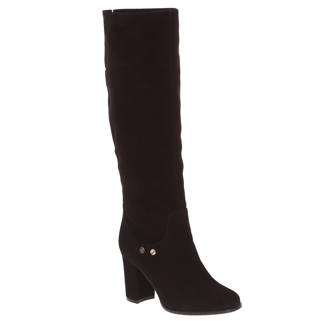 Сапоги женские Viko (черные, замшевые, на устойчивом каблуке, удобные,  теплые, стильные) 57289a50137
