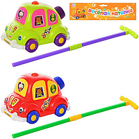 Каталка 0312/1186 (48шт) машина, на палке, звук, 2 цвета, в кульке, 32-26-13см