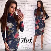 Платье ангора принт цветы
