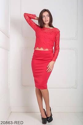 Жіночий червоний гіпюровий костюм Amera