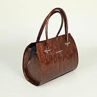 Лаковая дамская сумочка коричневая на руку