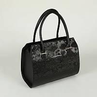 Женская сумка М50-47/14 черный стильный питон в деловом каркасном модном стиле с ручками