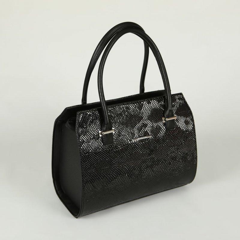 34063154ced0 Женская сумка М50-47/14 черный стильный питон в деловом каркасном модном  стиле с