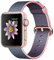 Apple Watch Series 2 38mm Rose Gold Aluminium Case with Light Pink/Midnight Blue Woven Nylon Band (MNP02)