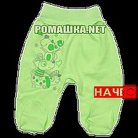 Ползунки (штаны) на широкой резинке с начесом р. 68 ткань ФУТЕР 100% хлопок ТМ Алекс 3180 Зеленый