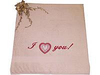 Махровое полотенце полотенец с вышивкой «I love you!» 70*140см