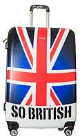 Практичный пластиковый 4-колесный чемодан средний 67 л. Suitcase average PLD, Британский флаг