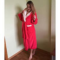 Махровый халат женский с капюшоном, длинный и теплый, Турция