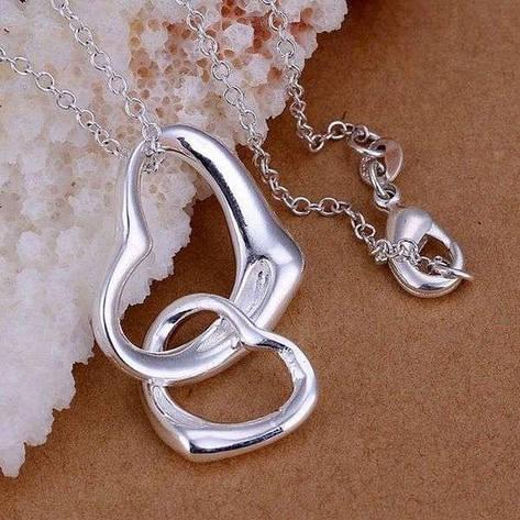 "Кулон для девушки два сердца ""Tiamo"" покрытие серебро, фото 2"