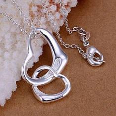 "Кулон для девушки два сердца ""Tiamo"" покрытие серебро"
