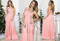 Нежно-розовое  длинное вечернее платье со стразами на плече. Арт-9323/65