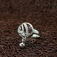 """Кольцо женское с брелочком """"Верный выбор"""" белая позолота"""