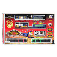 Железная дорога 2406 (24) р/у, свет, музыка, дым, 24 детали, 2 вида, на батарейке, в коробке