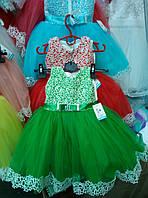 Зеленое новогоднее платье из фатина 5-7лет