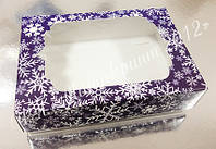 Коробочка для подарков новогодняя с окном 130х90х35 мм.