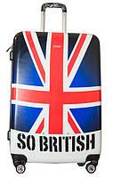 Оригинальный 4-колесный чемодан, пластиковый 100 л. Suitcase big PLD, Британский флаг