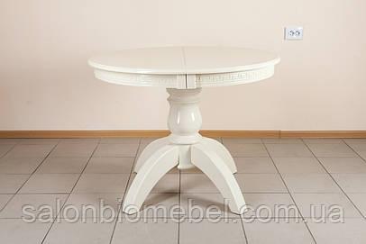 Стол обеденный круглый раскладной Престиж слоновая кость