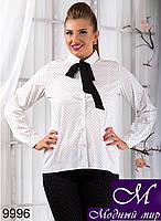 Стильная женская белая рубашка в крапинку (50, 52, 54, 56) арт. 9996