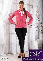 Стильная женская коралловая рубашка в крапинку (50, 52, 54, 56) арт. 9997