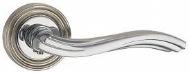 Ручка дверная на раздельном основании Punto - Vento ML SN/CP 3 (матовый никель-хром)