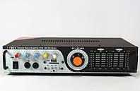 Звуковой усилитель AMP 121: FM, SD/MMC/USB, 25Гц-20кГц, 4 Ом, 350х215х75 мм, 220/12В, пульт ДУ