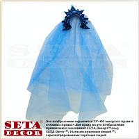 Корона с фатой Царевна на обруче голубая с вензелями новогодняя