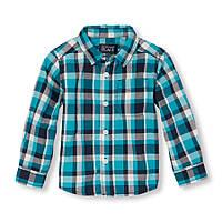 Хлопковая рубашка 12-18 мес США  Голубой