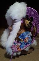 Детская шапка -ушанка, велюр