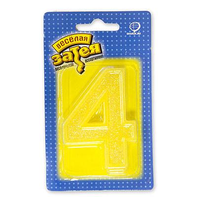 """Свеча цифра """"4"""" с блестками"""