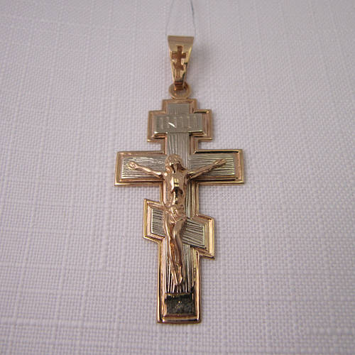 Купить Золотой Крест из красного и белого золота 585  в Киеве от компании