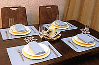 Подставки и салфетки (4 шт. + 4 шт.) для стола Канзас небесный Набор текстильный на кухню №2