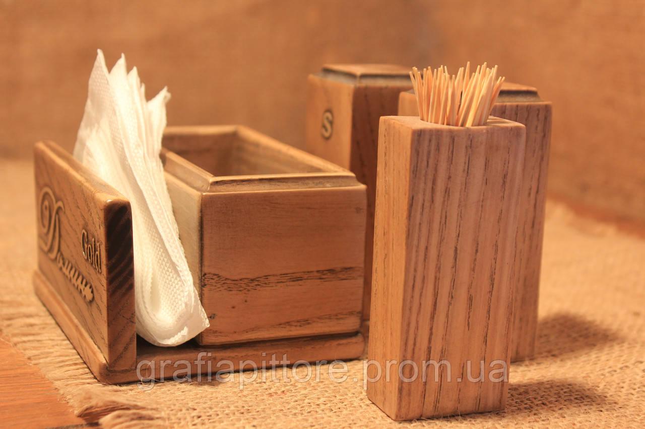 Набір для спецій з дерева Набор для специй.Салфетница.Серветниця  дерев ян.Набір для спецій з дерева ... 31c8470b56070