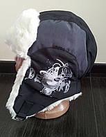 Детская шапка -ушанка для мальчика, плащевка