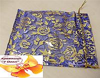 Мішечок для подарунку бузкового кольору з малюнком 19*13 см