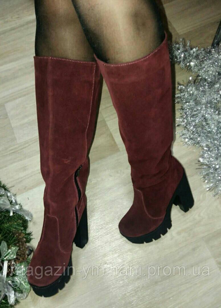 Женские бордовые сапоги на высоком каблуке из натуральной замши. - Интернет- магазин