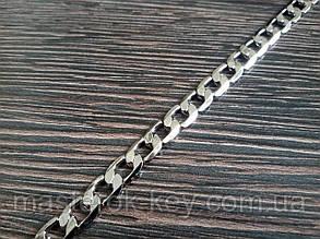 Цепь декоративная метражная металл №1 ширина 6мм цвет никель