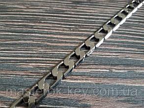 Цепь декоративная метражная металл №1 ширина 6мм цвет темный никель