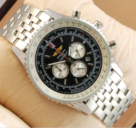 Часы мужские наручные breitling chronometre silver/black 206 aaa copy sk (реплика)