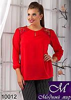 Легкая женская красная блуза (50, 52, 54, 56) арт. 10012