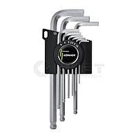 Набор ключей имбусовых, удлиненные с шаром, Cr-V Konner (49-133) 9шт. 1.5-10мм (уп.)