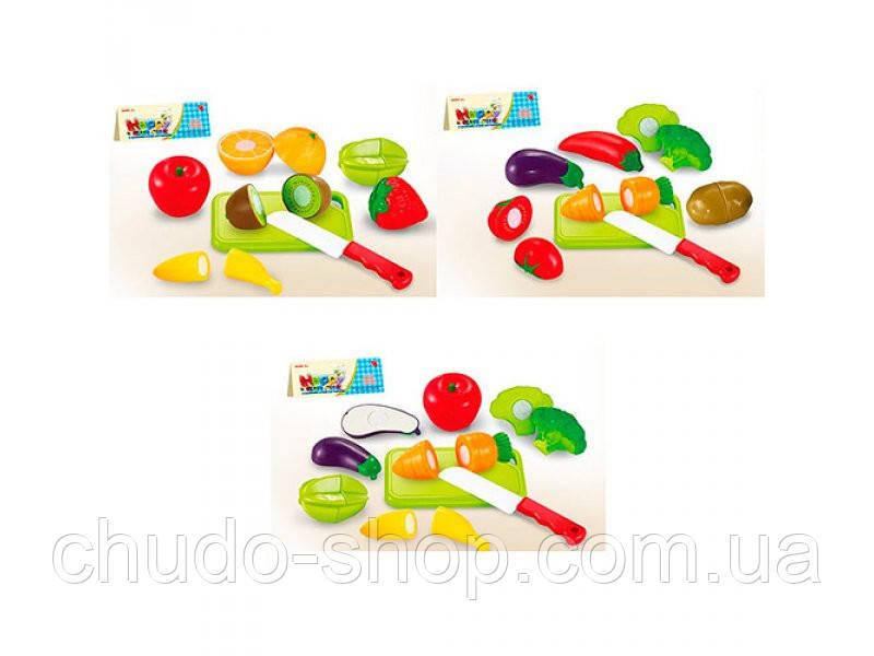 Продукты 666-17-8-9 (120шт) на липучке, досточка, нож, 3 вида, в кульке, 19-23-6см