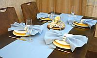 Ранер/ дорожка и салфетки (1шт.+ 4 шт.) для стола Канзас небесный Набор текстильный на кухню №3