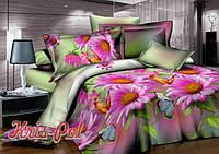 """Комплект постельного белья двуспальный, п/э 3D """"Розовые герберы"""""""