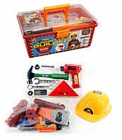 Детский набор столярных инструментов 2058: каска, пила, молоток, дрель, аксессуары, 32х21х14 см