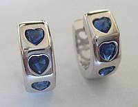 """Игривые серьги-кольца с синими фианитом """"Сердечки"""" от студии LadyStyle.Biz, фото 1"""