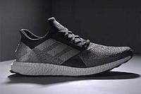 Спортивные беговые мужские кроссовки серые Адидас Futurecraft Tailored Fibre Black