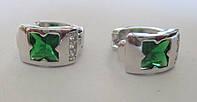 """Элегантные серьги-кольца с зелеными и белыми фианитом """"Клевер"""" от студии LadyStyle.Biz"""