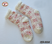 Женские шерстяные носки Снежинка с силиконовой подошвой
